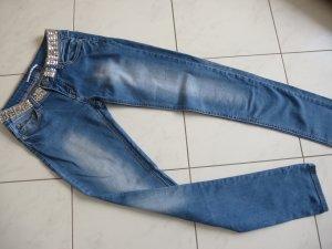 Sale% Trendy Jeans Hose von KISS MISS mit Glitzer-Applikationen am Bund, Gr. 36