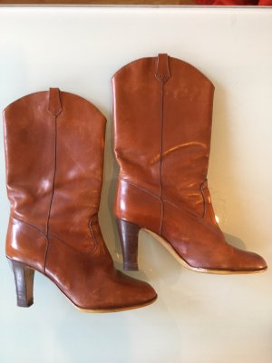 SALE! True Vintage Boots, Ankle Boots, Leder in Trend Farbe, High heels, cowboy Stiefel