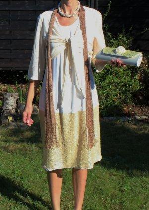 SALE %%% Ulla Popken gold weiß Kleid mit Bolero