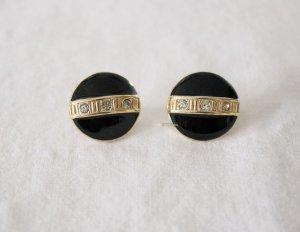 Vintage Pendientes de clip negro-color oro