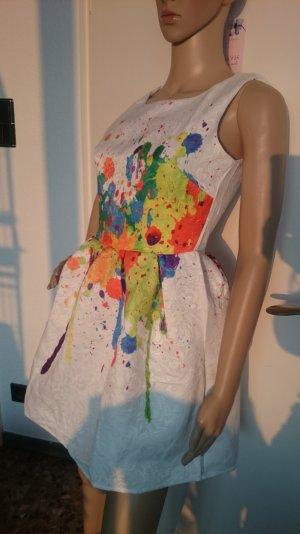 SALE!!! Wegen Umzug nur noch kurze Zeit!!! Schlagt zu! ;-))  Superschönes Kleidchen * wollweiß * strukturiert * mit bunten Farbflecken * XS/S