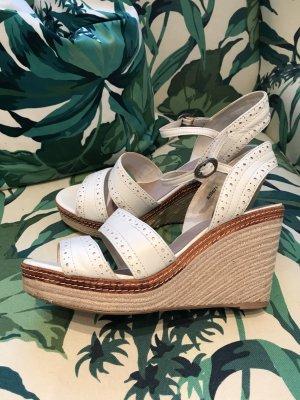 SALE!!! * Weiße Leder-Sandale Wedges Keilsandalette mit Schönheitsfehler