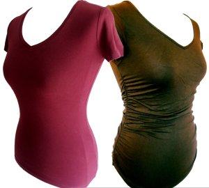 Sale ♥ Zwei Shortsleeve Shirts von H&M in XS: Khaki und Burgunder ♥
