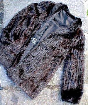Giacca di pelliccia marrone-nero Pelliccia