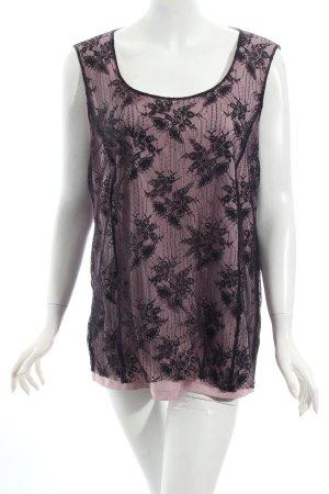 Sallie Sahne ärmellose Bluse rosé-schwarz Blumenmuster Spitzen-Optik