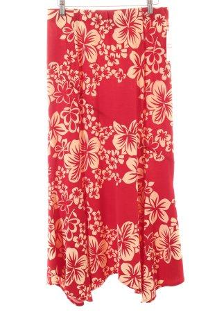 Sallie Sahne Stretchrock rot-beige Blumenmuster Beach-Look