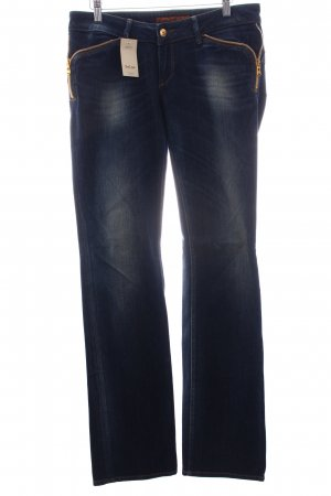 Salsa Jeans Straight-Leg Jeans blau-wollweiß Washed-Optik