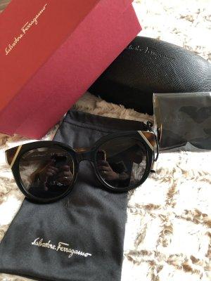 Salvatore ferragamo Hoekige zonnebril zwart bruin-goud