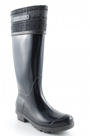 Salvatore ferragamo Wellies black-anthracite check pattern material mix look