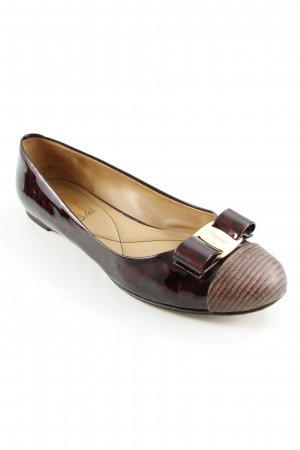 Salvatore ferragamo Patent Leather Ballerinas brown animal pattern casual look