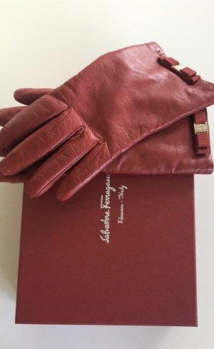 Salvatore ferragamo Gants en cuir rouge