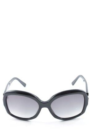 Salvatore ferragamo ovale Sonnenbrille schwarz-silberfarben Elegant