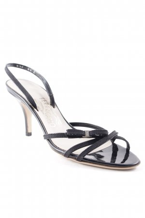 Salvatore ferragamo Peeptoe Pumps schwarz-creme Party-Look