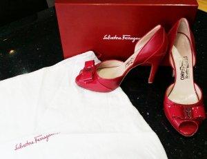 Salvatore Ferragamo Pumps Peeptoes pink fuchsia lack Leder 7,5 38,5