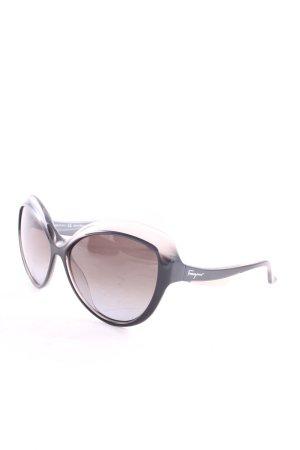 Salvatore ferragamo runde Sonnenbrille schwarz-grau extravaganter Stil