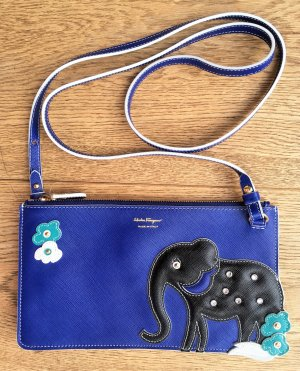 "* SALVATORE FERRGAMO * NEU ! ELEPHANT MINI BAG  POUCH ""Animal Capsule Collection "" Saffiano Leder blau Kristalle"