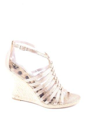 Sam edelman Wedges Sandaletten beige-silberfarben Reptil-Optik