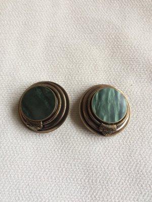 Pendientes de clip verde oscuro-color oro