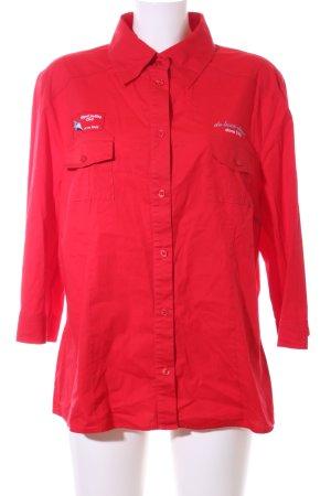 Samoon Hemd-Bluse rot Schriftzug gestickt Casual-Look