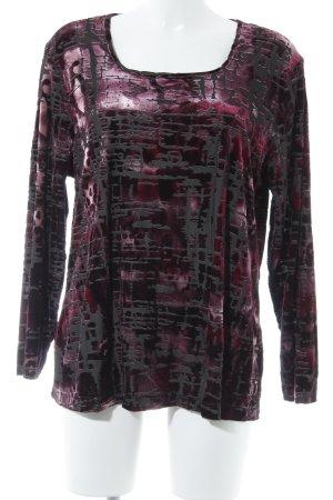Samoon Longsleeve schwarz-purpur abstraktes Muster Casual-Look