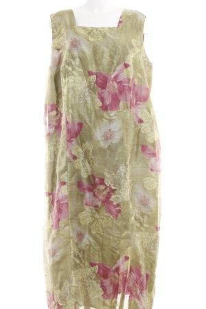 Samoon Maxikleid limettengelb-rosa florales Muster Elegant