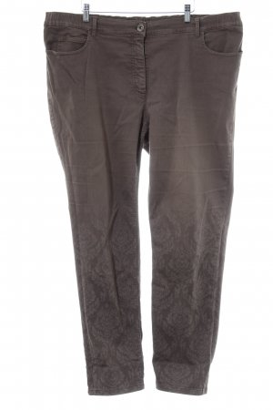 Samoon Slim Jeans hellbraun florales Muster Casual-Look