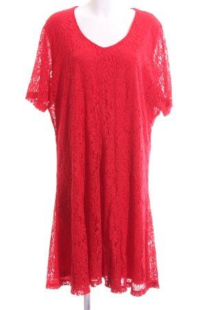 Samoon Spitzenkleid rot Elegant
