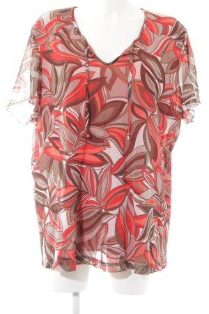 Samoon T-Shirt rot-graubraun florales Muster