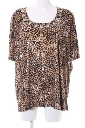 Samoon T-Shirt schwarz-beige Leomuster Glitzersteinverzierung