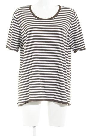 Samoon T-Shirt weiß-dunkelbraun Streifenmuster Casual-Look