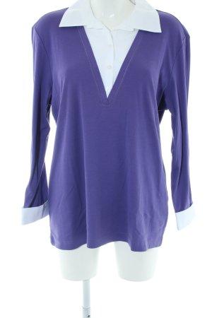 Samoon V-Ausschnitt-Pullover blau-weiß Business-Look