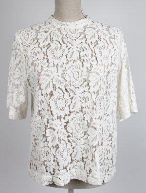 samsoe * Bluse Shirt Spitze Blüten geblümt L 40 beige creme weiß * scandi mode