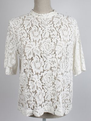 samsoe samsoe Bluse Spitze L 40 creme beige weiß nude scandi style Blüten geblümt