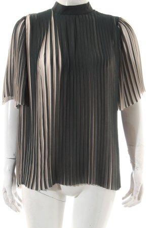 Samsøe & samsøe Kurzarm-Bluse creme-dunkelgrün Streifenmuster Elegant