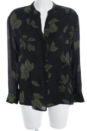 Samsøe & samsøe Langarm-Bluse schwarz-dunkelgrün florales Muster