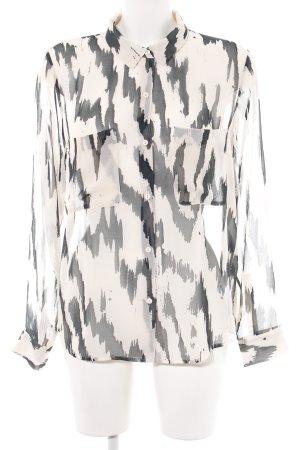 Samsøe & samsøe Transparenz-Bluse creme-schwarz abstraktes Muster