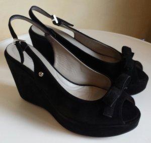 Samsonite Plateauzool sandalen zwart Suede