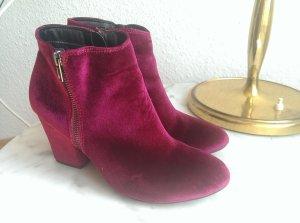 Samt-Ankle-Boots/Stiefeletten mit Blockabsatz von ZIGN