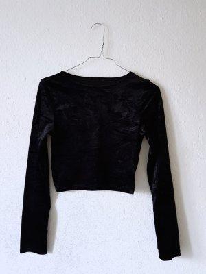 Samt Crop Pullover schwarz