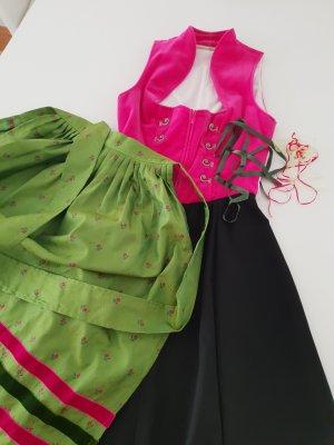 Samt Dirndl pink mit grüner Schürze Gr. 32