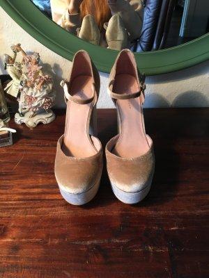 Samt high heels beige Plateau Schuhe Kurt Geiger Designer Pumps