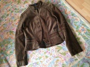 Samt-Jacke * kurzer Blazer * Größe 36 * khaki  #vintage