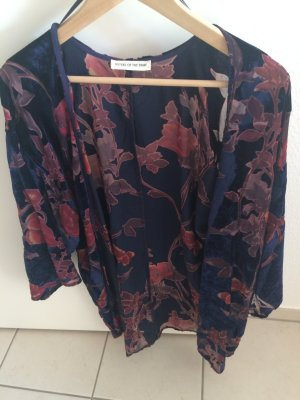 Kimono blouse blauw-paars Katoen