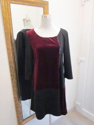 Samt Kleid schwarz bordaux Gr 38