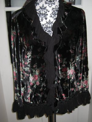 Samt Rüsschen Bluse mit Seide und Blüten Gr 38/40 schwarz rosa grün