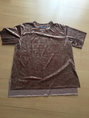 Samt Shirt in Altrosa