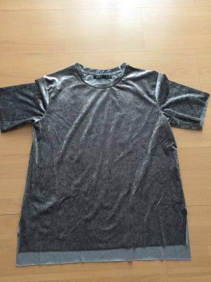 Samt Shirt in Silber