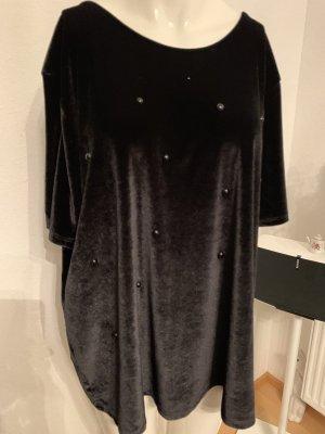Samt Shirt mit Perlen von Bodyflirt Gr 48 50 XXXL