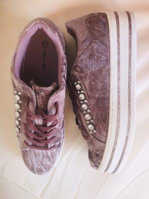 Samt Sneaker Damen Schuhe mit Crystals 41 Neu