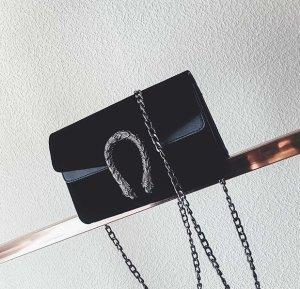 Samt Tasche Velvet schwarz Silber neu